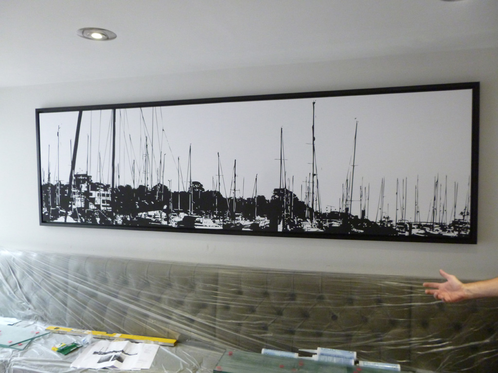 a canvas wrap of boats, docked in a harbour