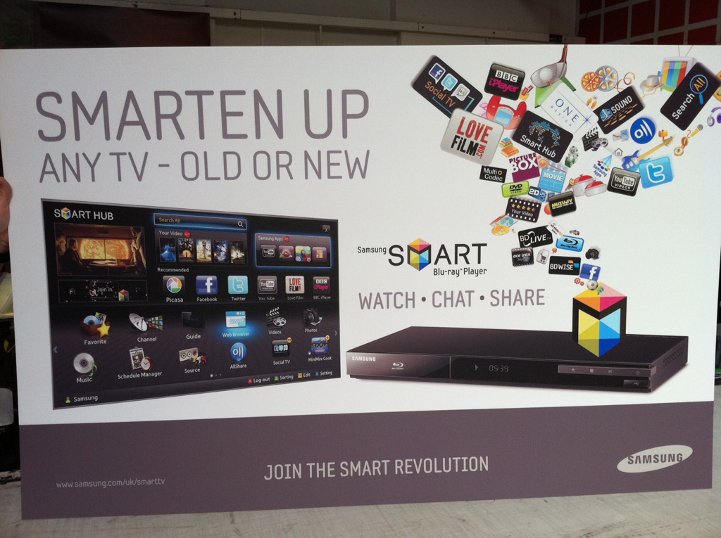 a Standee of a new TV box