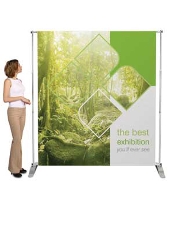 a green exhibition stand